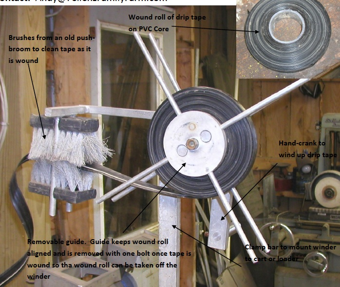 Drip tape winder/cleaner